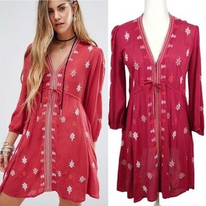 FREE PEOPLE Star Gazer Embroidered Tunic Dress S